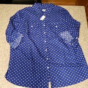 Talbots NWT SZ 2X polka dot shirt